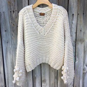 Pol Crochet Open Knit Bauble Crop Sweater Cream L